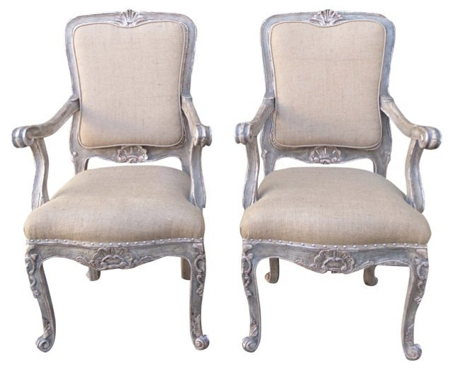 French Silver-Painted Armchairs, Pair