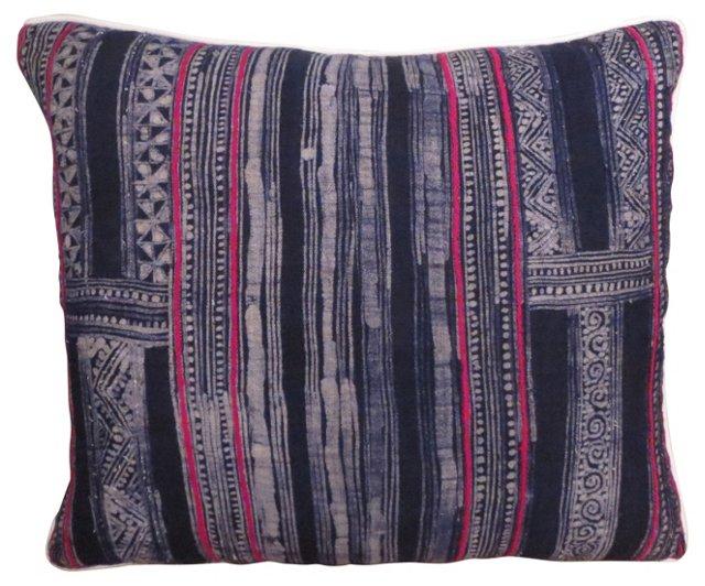 Blue Batik Pillow w/ Pink Accents