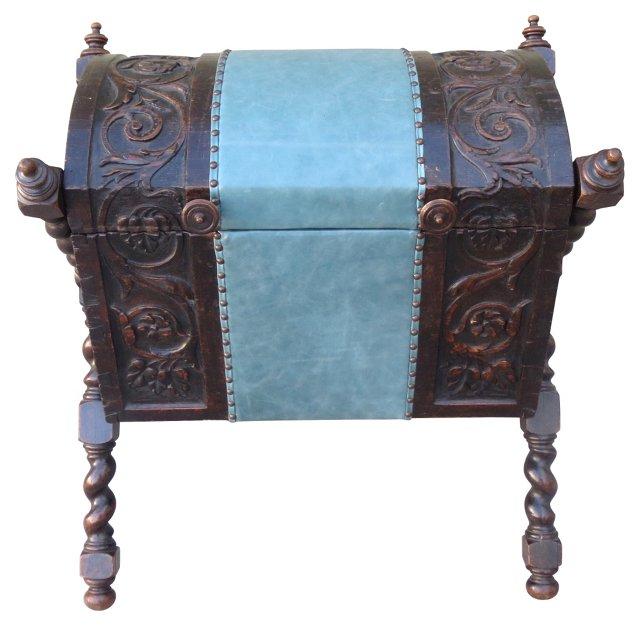 Spanish Walnut Chest w/ Aqua Leather