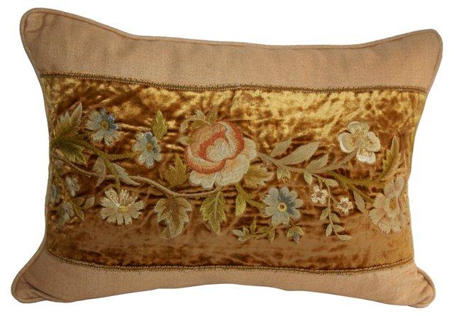 Velvet Pillow w/  Embroidery