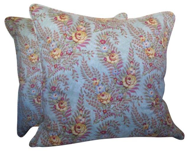 Printed Floral Pillows, Pair
