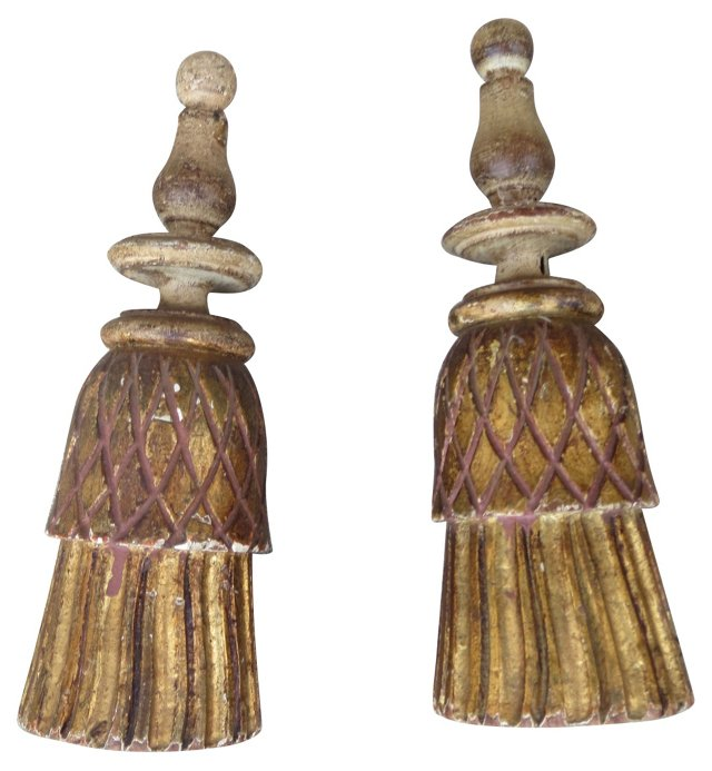 Carved Italian Tassels, Pair