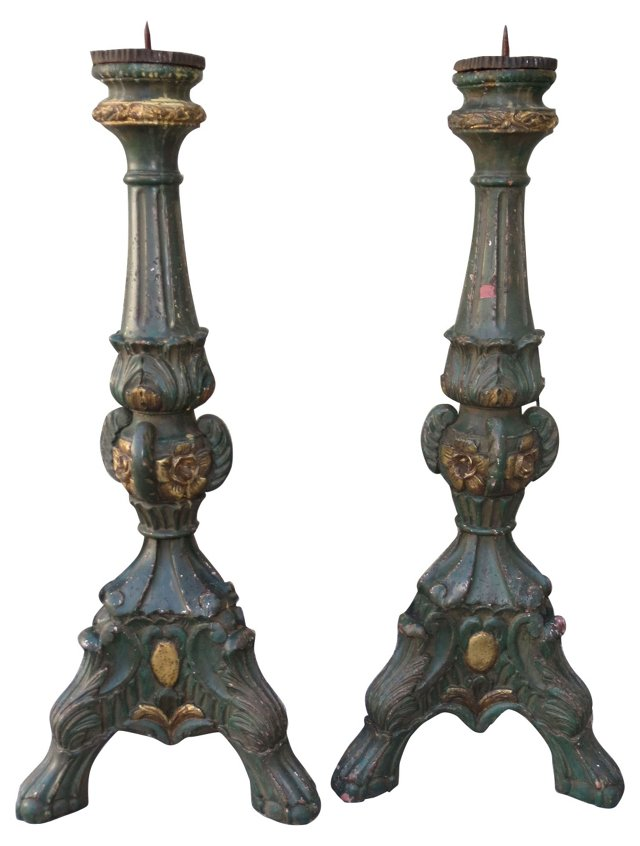 Painted Italian Candlesticks, Pair