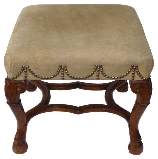 Suede-Upholstered Walnut Stool