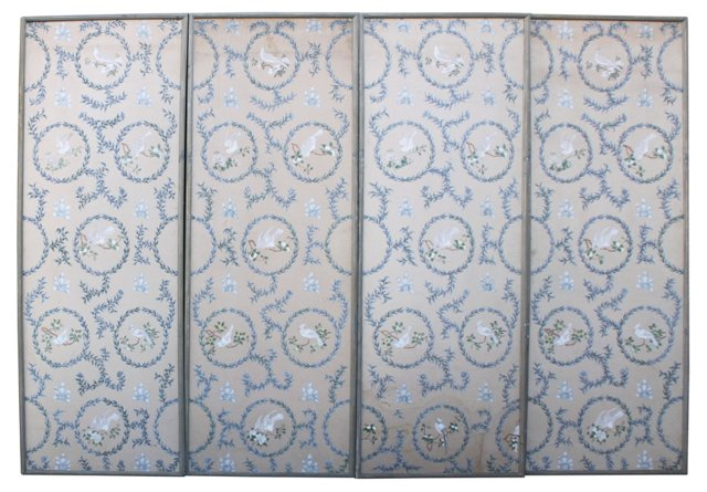 1930s Hand-Painted Panels, Set of 4