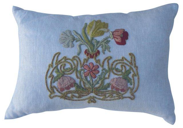 Linen Pillow w/ Floral   Appliqué