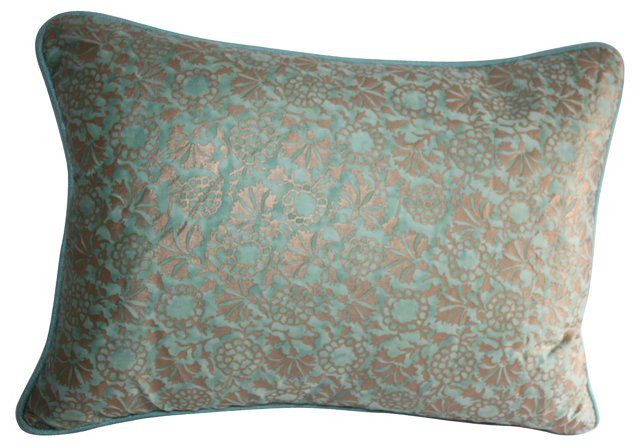 Turquoise & Gold Fortuny Pillow