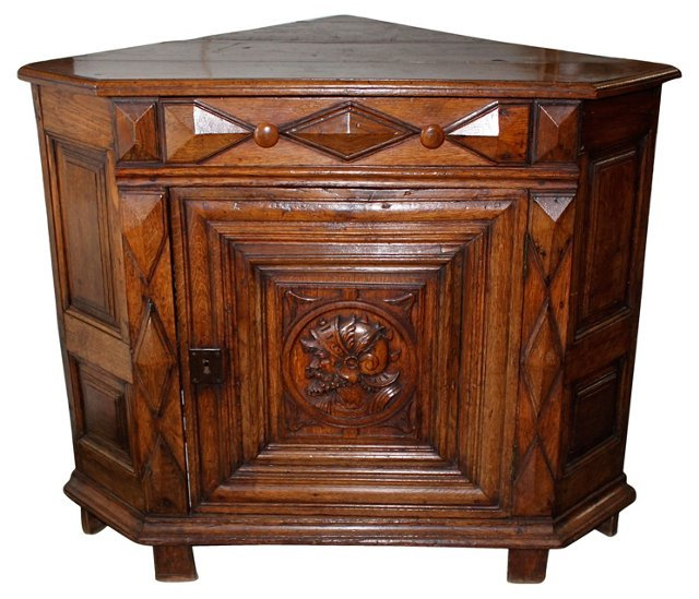 19th-C. Walnut Corner Cabinet
