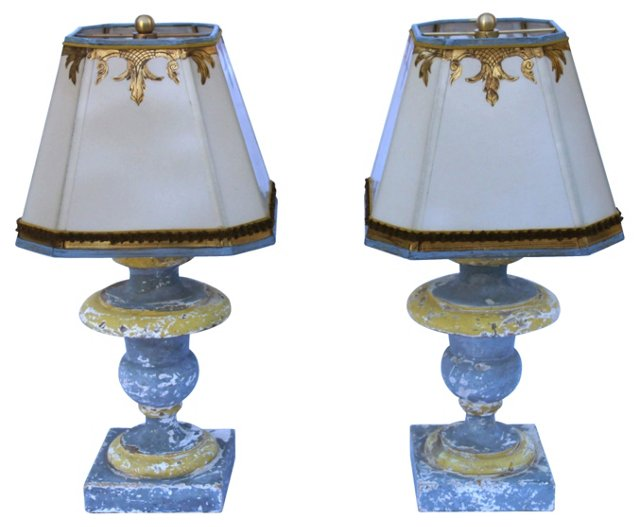 19th-C. Urn Lamps, Pair