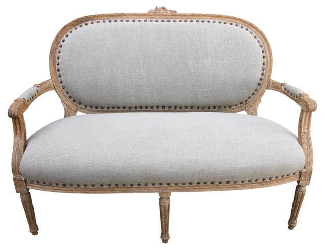 French Carved Settee w/ Belgian Linen