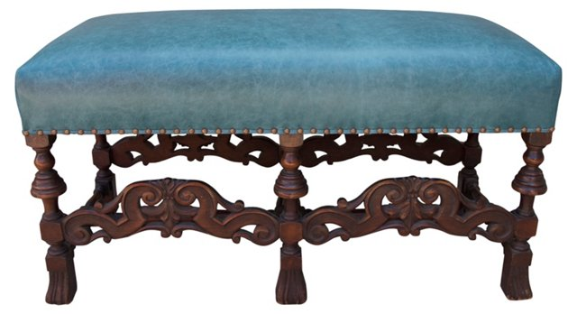 Italian Turquoise Leather Bench
