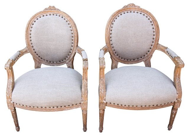 French Armchairs w/ Belgian Linen, Pair