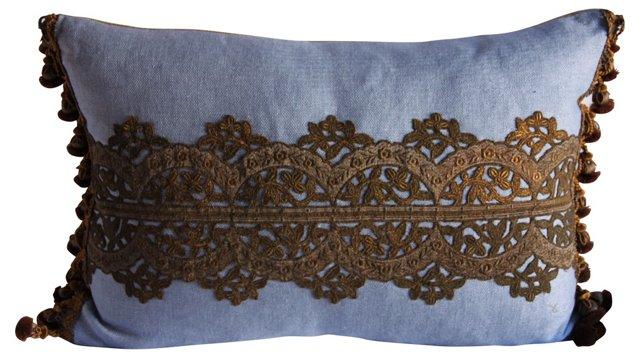 Pillow w/ Italian  Lace Appliqué