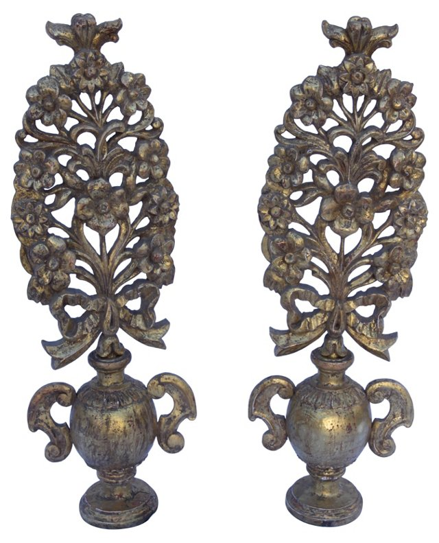 Italian Urns w/ Carved Flowers, Pair