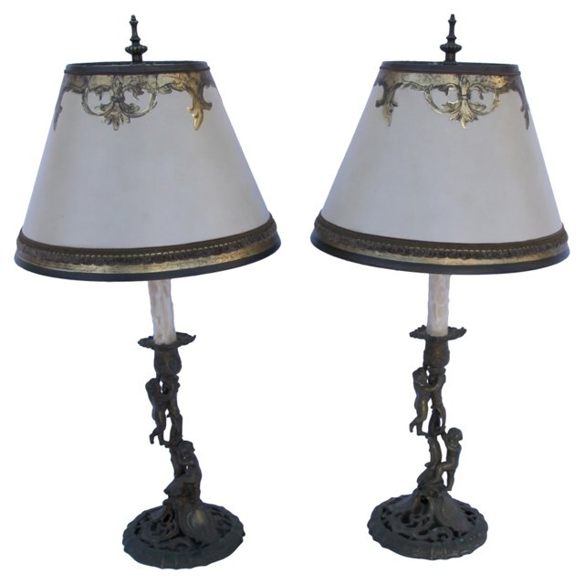 Rococo Candlestick Lamps, Pair