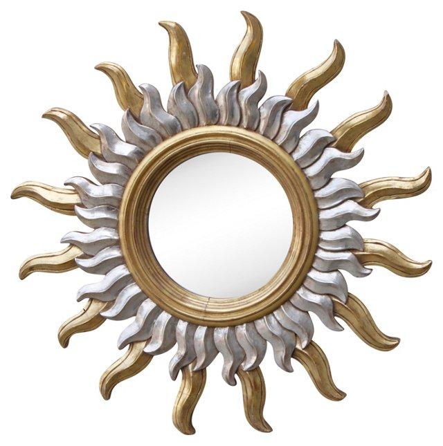 Gold & Silver Carved Sunburst Mirror