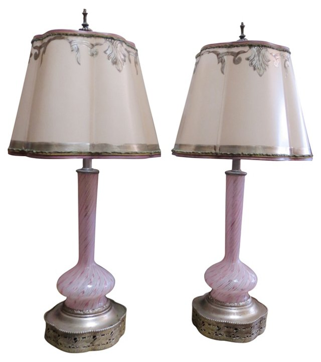 Ribbon Murano Lamps, Pair