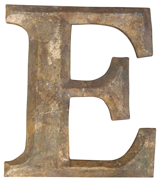 Carved Giltwood Letter E
