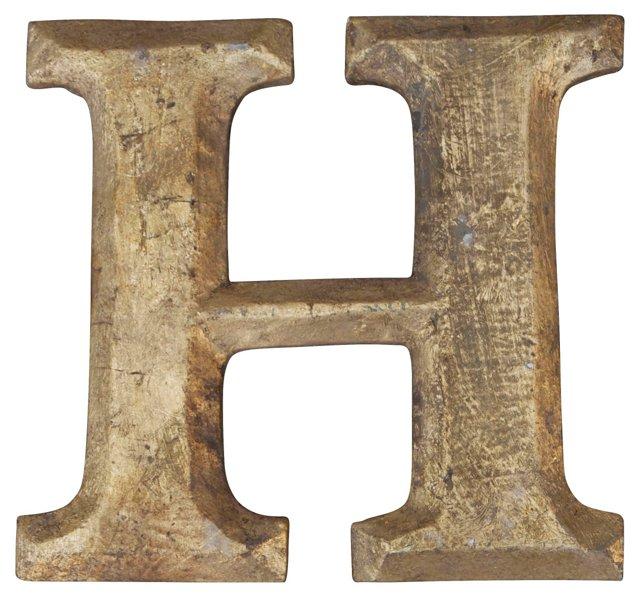 Carved Giltwood Letter H