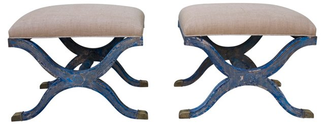 Italian Blue Painted Benches, Pair