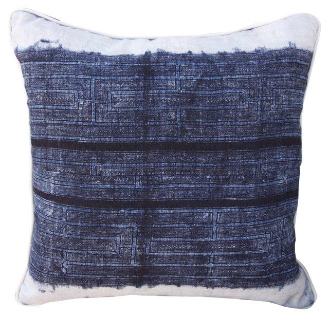 Blue & White Cotton Batik  Pillow