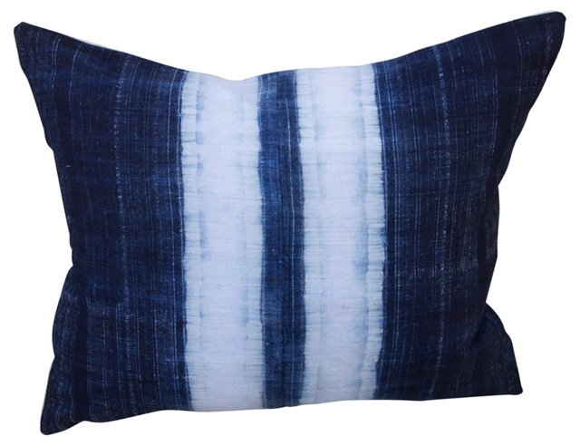 Blue & White  Dyed Linen Pillow