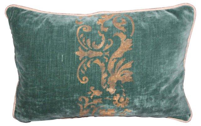 Italian-Style Stenciled  Velvet Pillow
