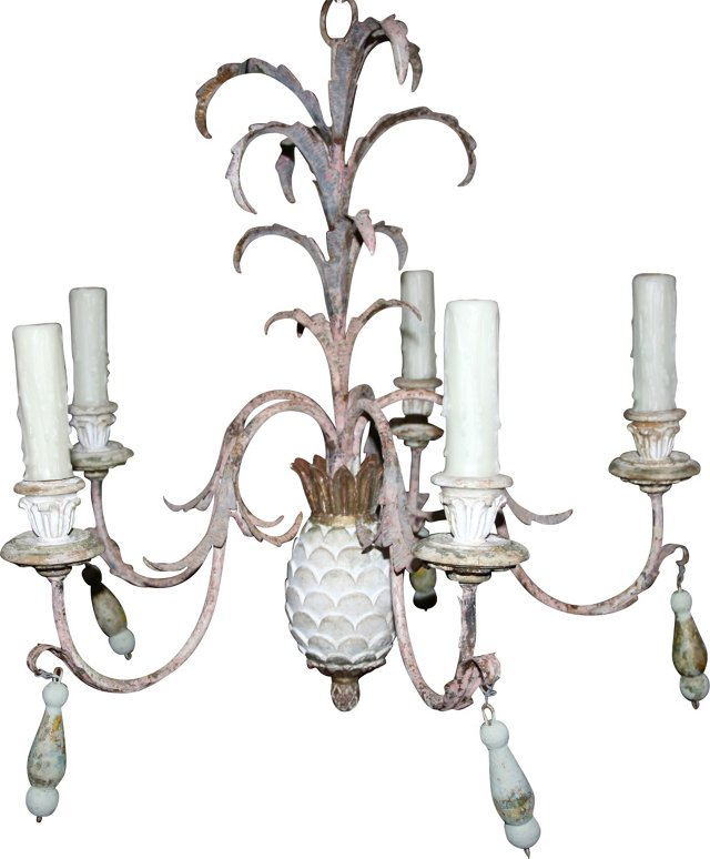 White Painted Pineapple Chandelier