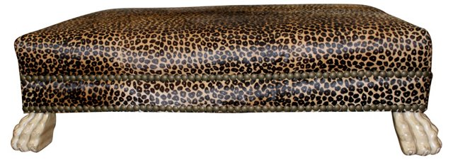 Leopard-Print Bench w/ Lion Feet