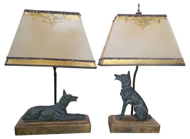 Bronze German Shepherd Lamps, Pair
