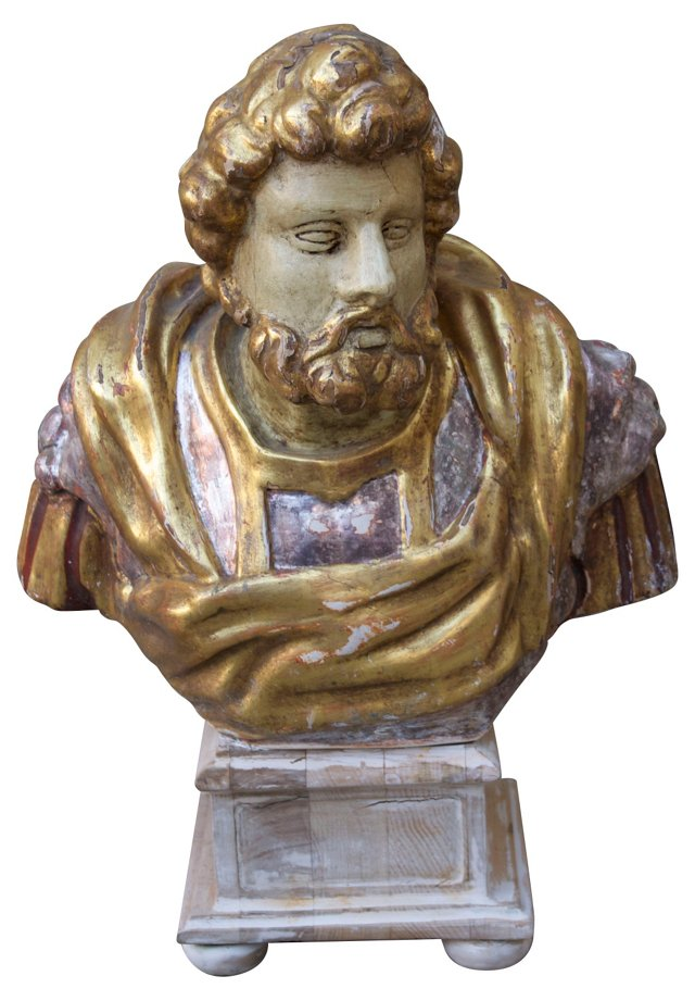 Carved Painted & Gilt Bust