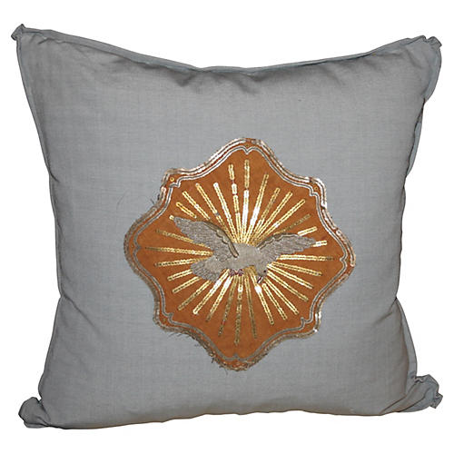 Cotton Pillow w/ Metallic Dove Appliqué