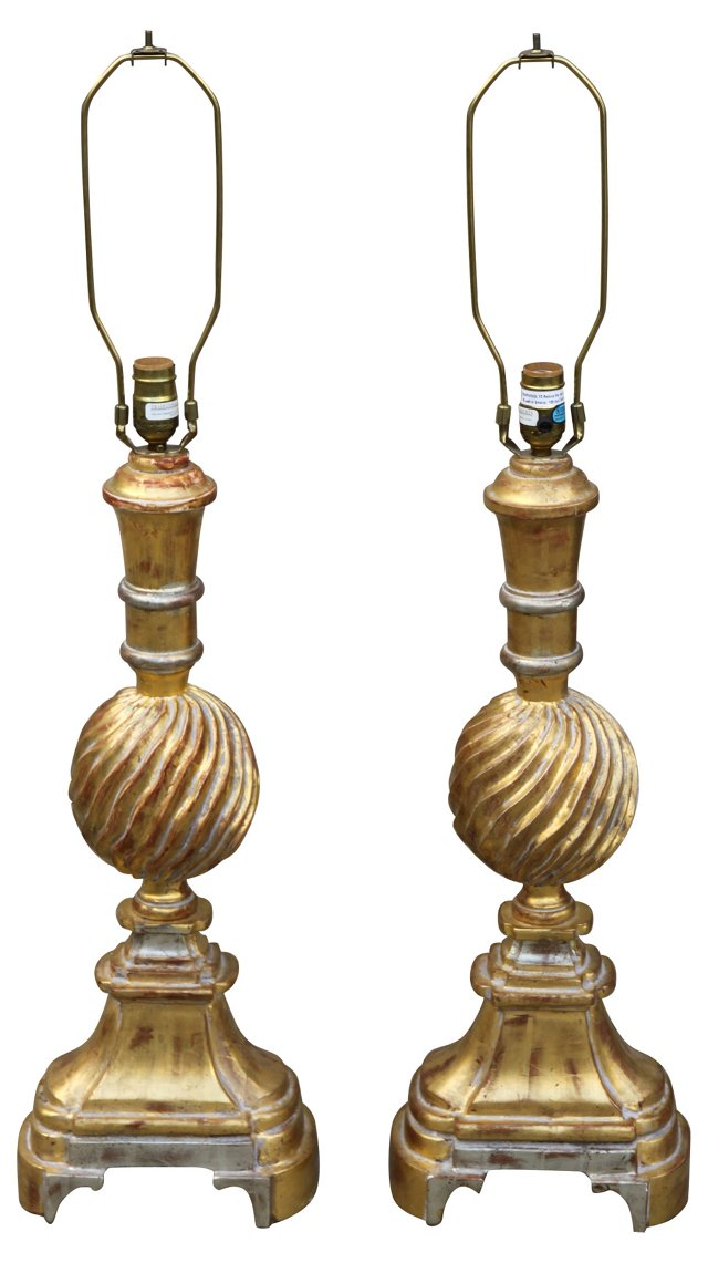 22K Gold Leaf Carved Lamps, Pair