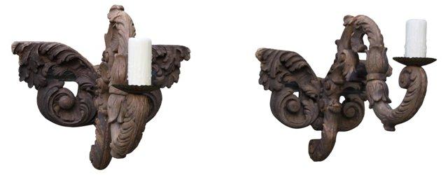 Carved Wood Sconces, Pair
