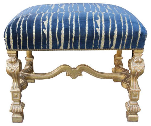 Italian Carved Bench w/ Cut Velvet