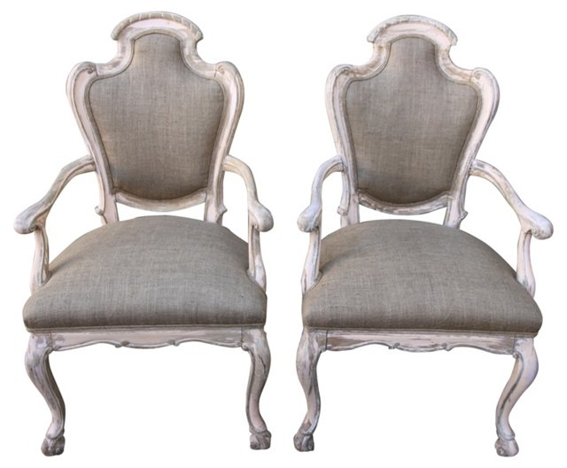 Italian Painted Armchairs, Pair