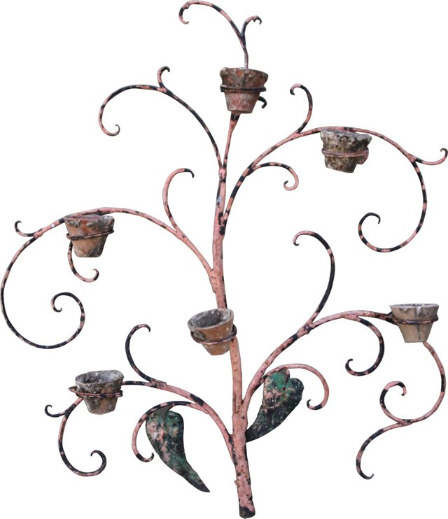 Iron Tree  Wall Painted Planter w/ Pots