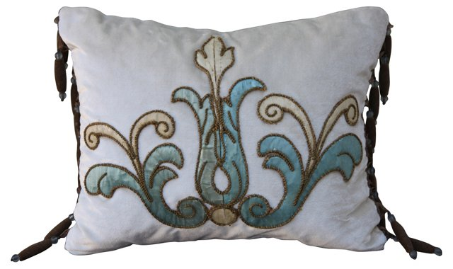 Appliquéd Cream Silk  Velvet Pillow