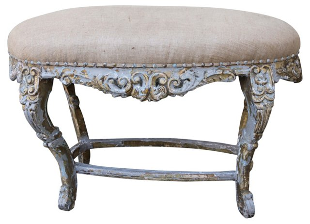 French Painted Oval Bench
