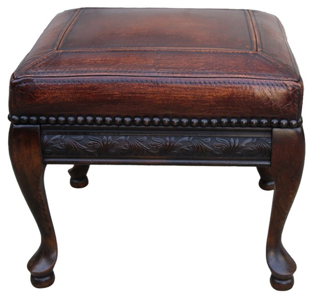 Leather-Upholstered French Bench