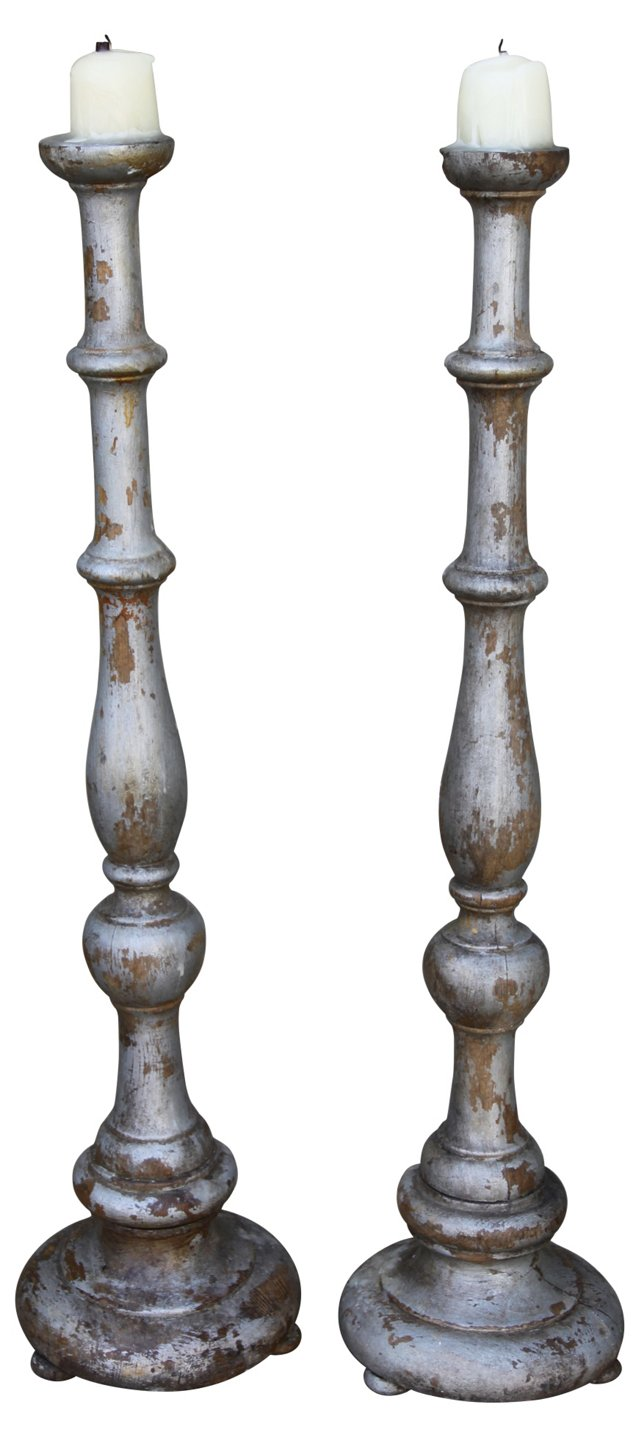 Silver Wood Candlesticks, Pair