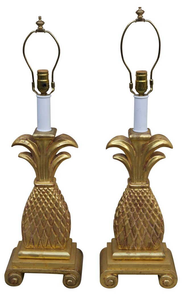 Gilt Wood Carved Pineapple Lamps, Pair