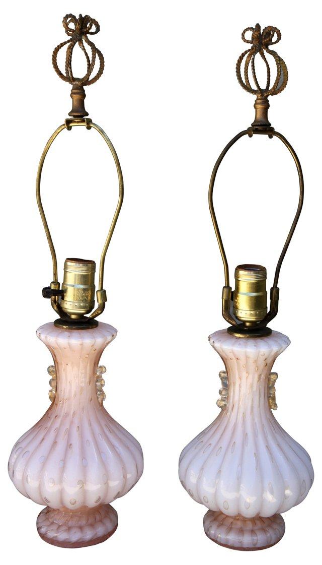 Petite Pink Murano Lamps, Pair