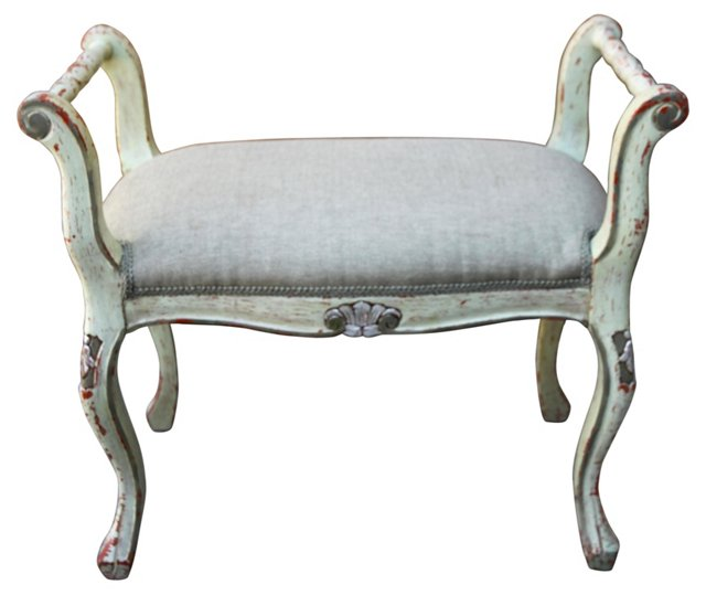Painted  & Silver Gilt Bench