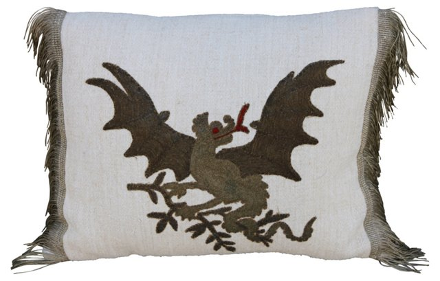 Metallic Dragon Appliquéd Pillow