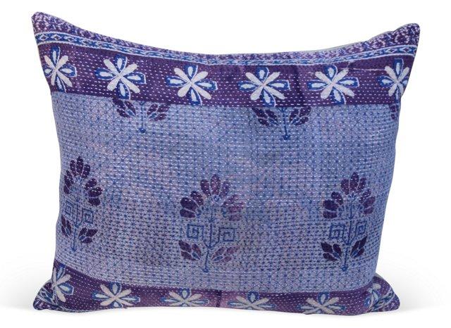 Pillow w/ Eggplant   Kantha Textile