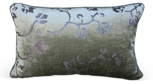 Ivy-Stenciled Velvet Pillow