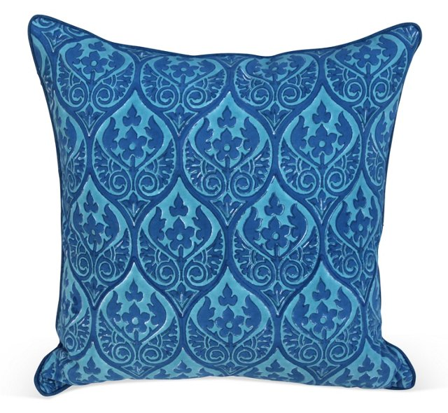 French Blue Cotton Pillow