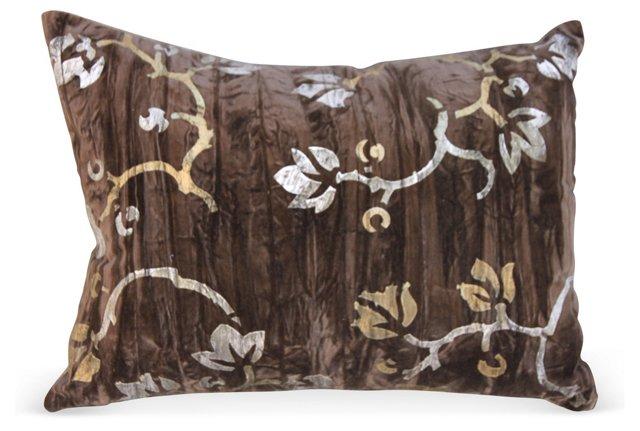 Stenciled Brown   Velvet Pillow