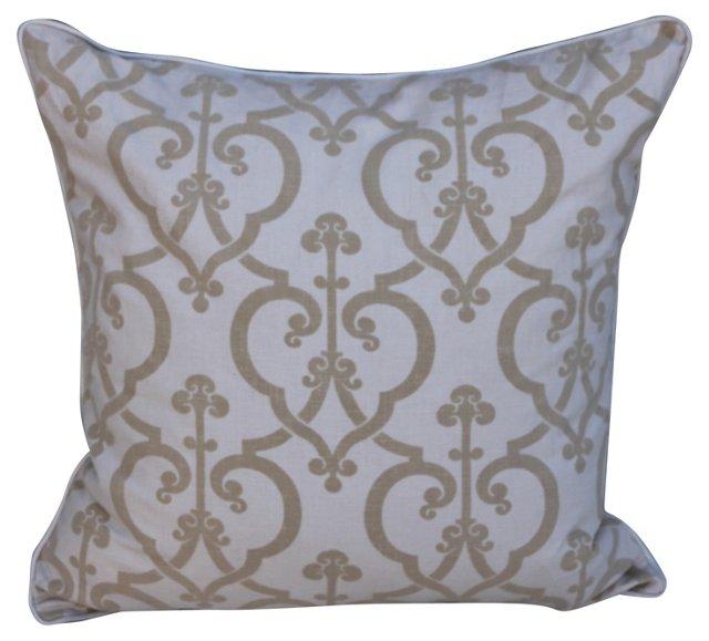 Pillow w/ Cut Velvet & Linen Textile